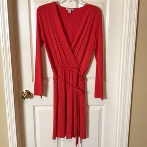 Boston Proper Wrap Dress Red with Long Sleeves